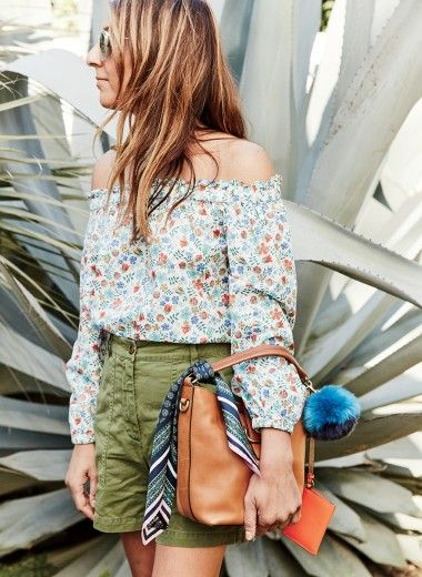 BAG OF TRICKS (J Crew off-the-shoulder top in Liberty edenham floral + chino camp short + hobo bag in warm mushroom + faux-fur colorblock pom-pom in aqua sea + Italian silk square scarf in foulard print + Piper sunnies)