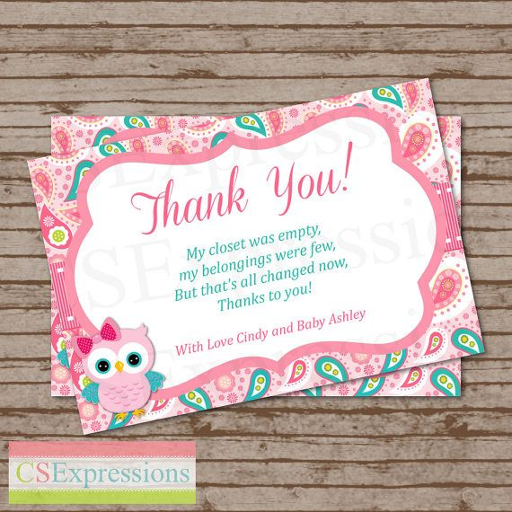 pink paisley owl baby shower thank you card on etsy 800
