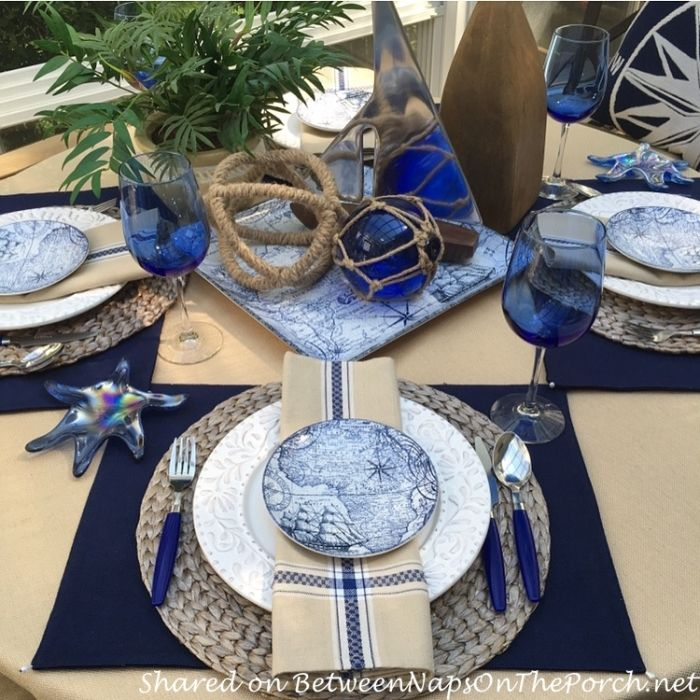 nautical summer table setting featured on between naps on the porch