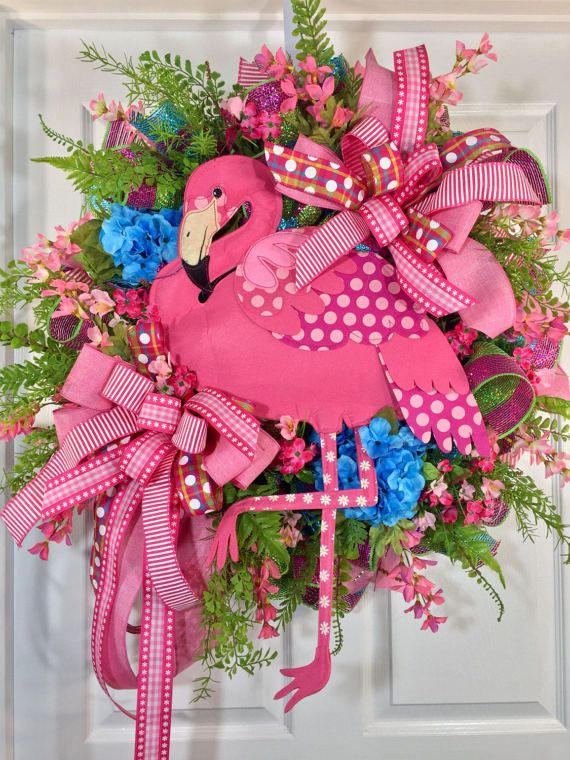 Bright and Whimsical Blue and Pink Flamingo Mesh by WilliamsFloral