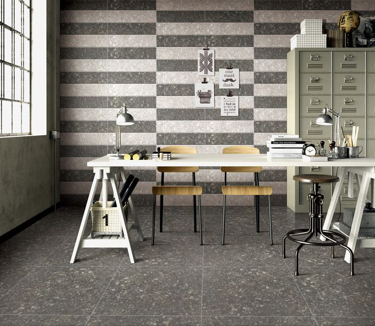 Workspace // Working room.  Floor & wall tile with TERRAZZO Series (TER603 & TER608) brings you to feel the retro style.