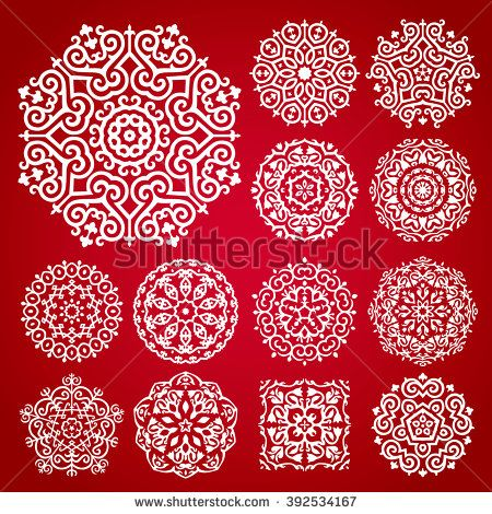 Vector Ornament Set With Caucasian Motifs On Red Background