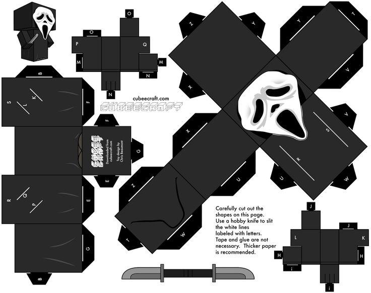 halloween craft templates | ... Scream Cubeecraft template preview Paper toy Ghostface (Scream