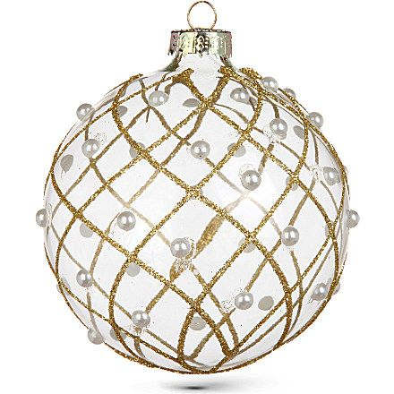GISELA GRAHAM Clear gold glitter and pearl bauble 8cm