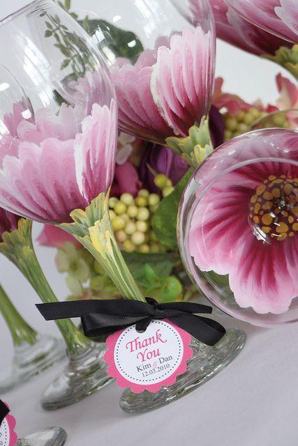 Wedding reception glassware by judipaintedit, via Flickr
