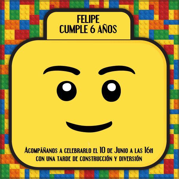 Invitaciones fiesta lego infantil cumple construcc
