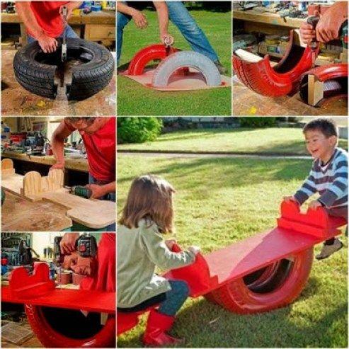 Toujours soucieux de l'environnement et toujours prêts à fabriquer des jeux, nous vous proposons des exemples et des modèles de fabrications à faire en vieux pneus.