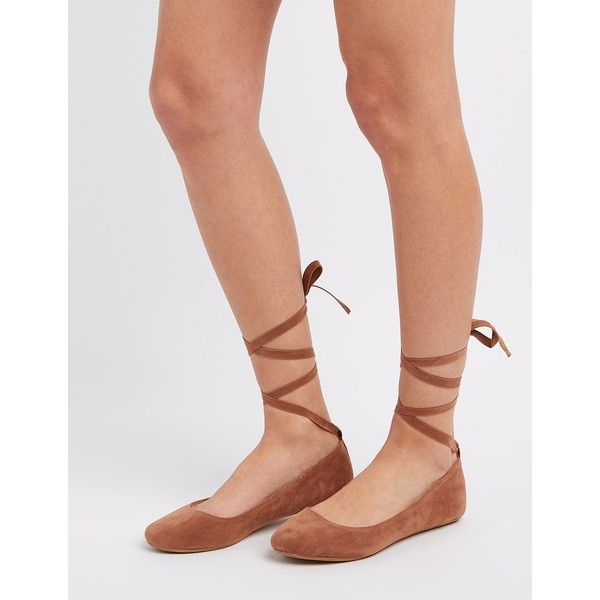 Bamboo Lace-Up Ballet Flats ($17) ❤ liked on Polyvore featuring shoes, flats, camel, ballet shoes, t-strap flats, bow ballet flats, flat shoes and lace up ballet flats