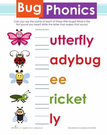 Bug Phonics | Education.com | What kind of bug doesn't know how to spell its own name? Have your little critter practice phonics by saying each name aloud. He'll practice writing the beginning letter on the line to complete the creepy-crawly name. Download Phonics Worksheets for Summer fun.