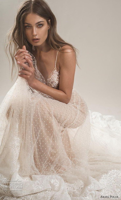 arava polak 2019 bridal sleeveless spaghetti strap deep sweetheart neckline heav