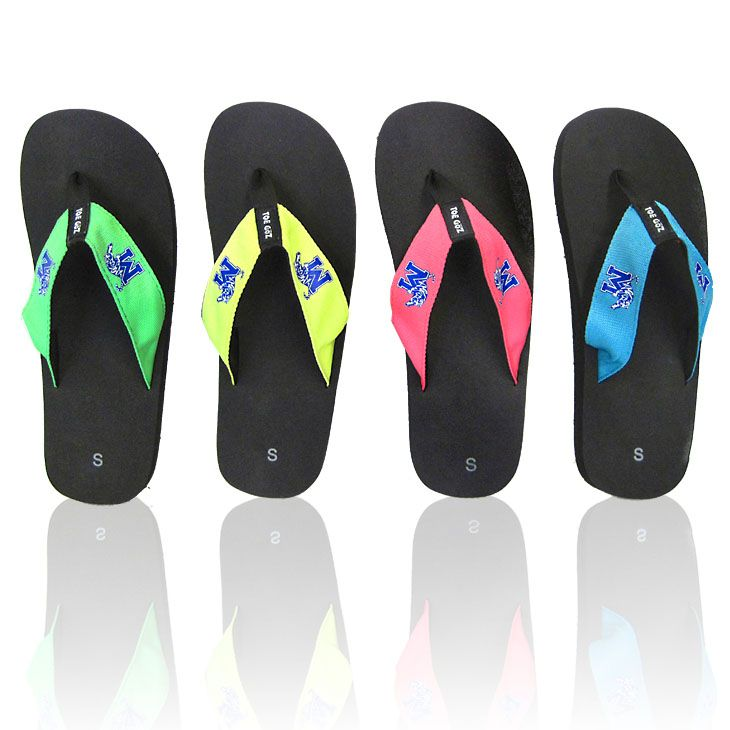 Get ready for the warm weather and sunshine this summer with these flip flops featuring neon colored woven straps with the University of Memphis 'M Tiger' logo!