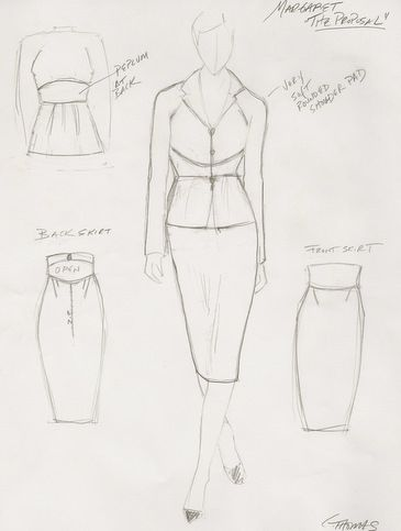 "Cat Thomas's sketch for Sandra Bullock's character in ""The Proposal."" The suit was created with a black pinstripe fabric from Mood in New York."