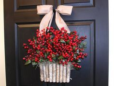 Holidays wreaths Christmas wreath red winter berry berries wreaths front door decor birch bark decorations wreath