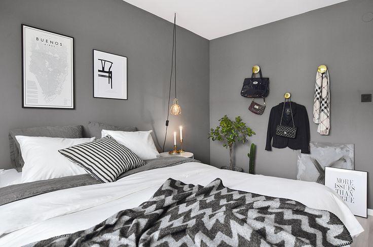 Bedroom with grey walls