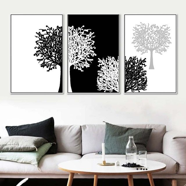 3 Piece Modern Black And White Wall Art Topdekoration Com Red Wall Art White Canvas Art Wall Decor Living Room