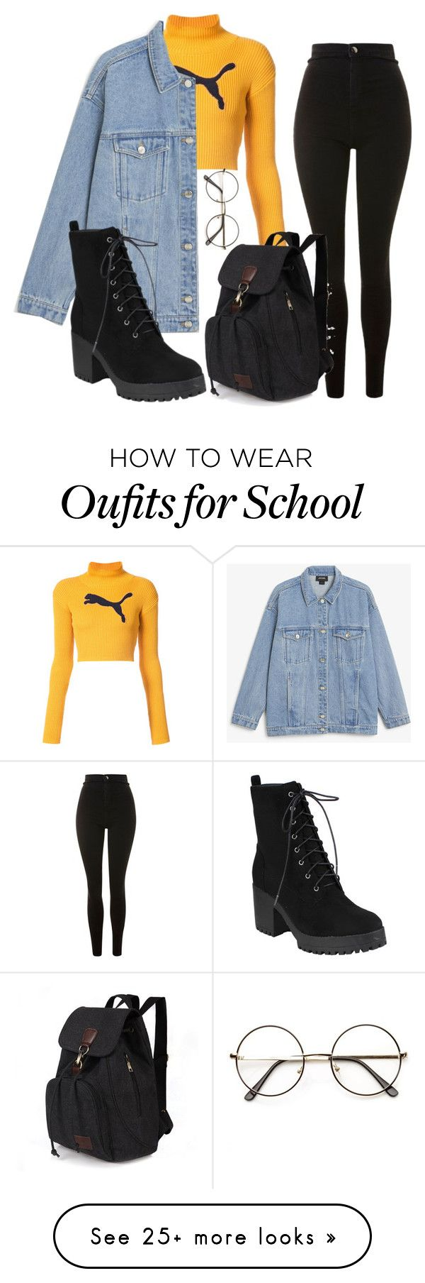 """""""Untitled #438"""" by pinnockie on Polyvore featuring Topshop, Puma and Monki"""