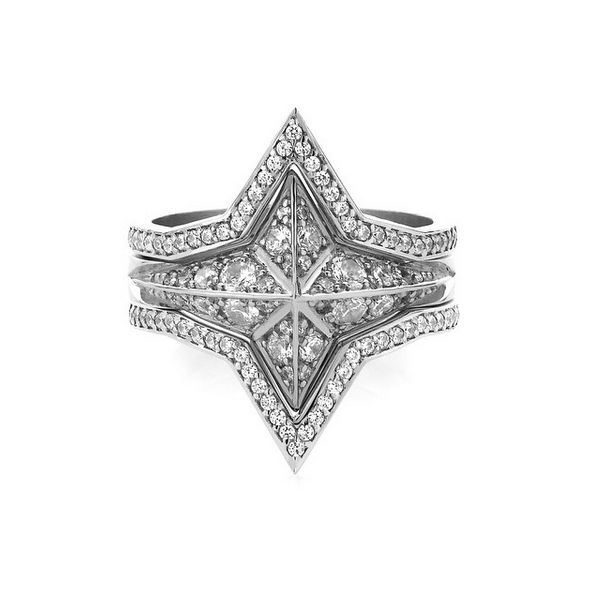 Pave star ring surrounded by pave star bands.  www.meadowlarkjewellery.com