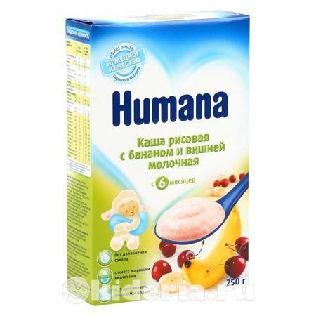 Humana Каша рисовая с бананом и вишней молочная, с 6 мес  — 277р.  Молочная Рисовая с Бананом и Вишней каша Хумана идеальна в качестве полезного ужина для Вашего малыша.   - Без глютена   - Без кристаллического сахара   - Хорошо усваивается и переносится   - Вкусная и питательная   - Содержит все необходимые витамины   - Обогащена кальцием, железом и йодом   - 200 г сухой каши дают примерно 6 порций готовой каши.  Способ применения:  При приготовлении питания следуйте инструкции.  Готовьте…