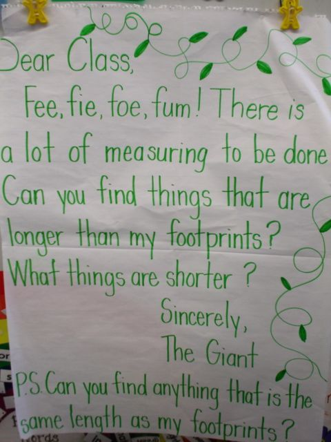 Jack and the Beanstalk measuring activities:  Kindergarten BLOG