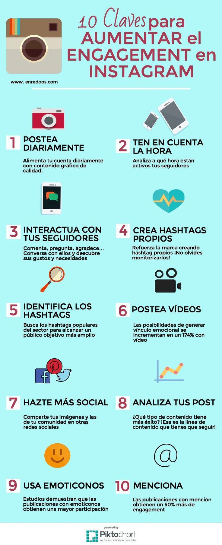 10 claves para aumentar el engagement en Instagram #infografia #socialmedia