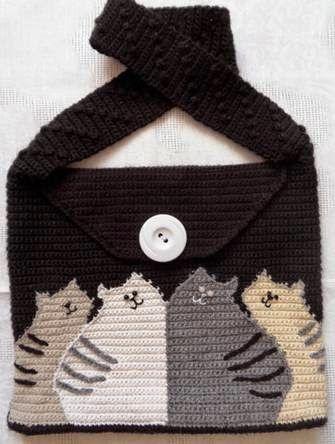 Häkelmuster Fundgrube: Tasche mit Katzen