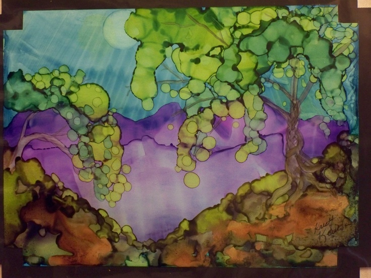 purple mountains, alcohol ink - don't click - just this image - no instructions
