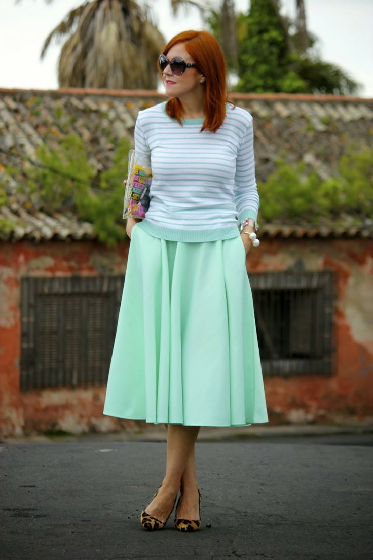 So cute by Guccisima: Mint Midi Skirt