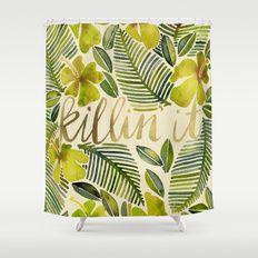 Killin' It – Tropical Yellow Shower Curtain