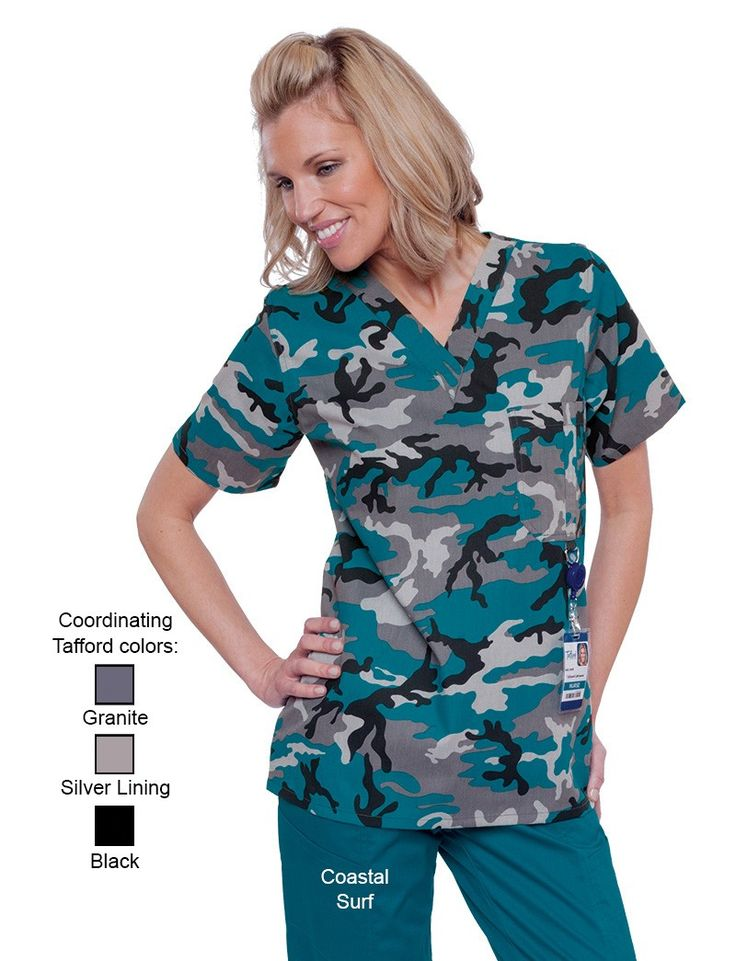 Okay, these would be awesome for camp nurses, unisex too! Coastal Camo Unisex D-Ring Scrub Top