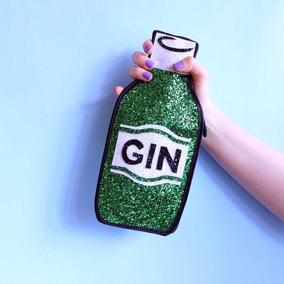 Glitter Gin Bottle Clutch Handbag, £70, Etsy