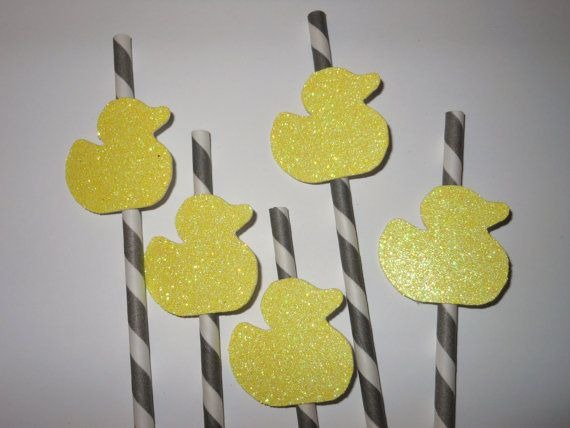 Baby shower decorations, baby shower ideas, baby shower decoration ideas - Glitter rubber duckie straws
