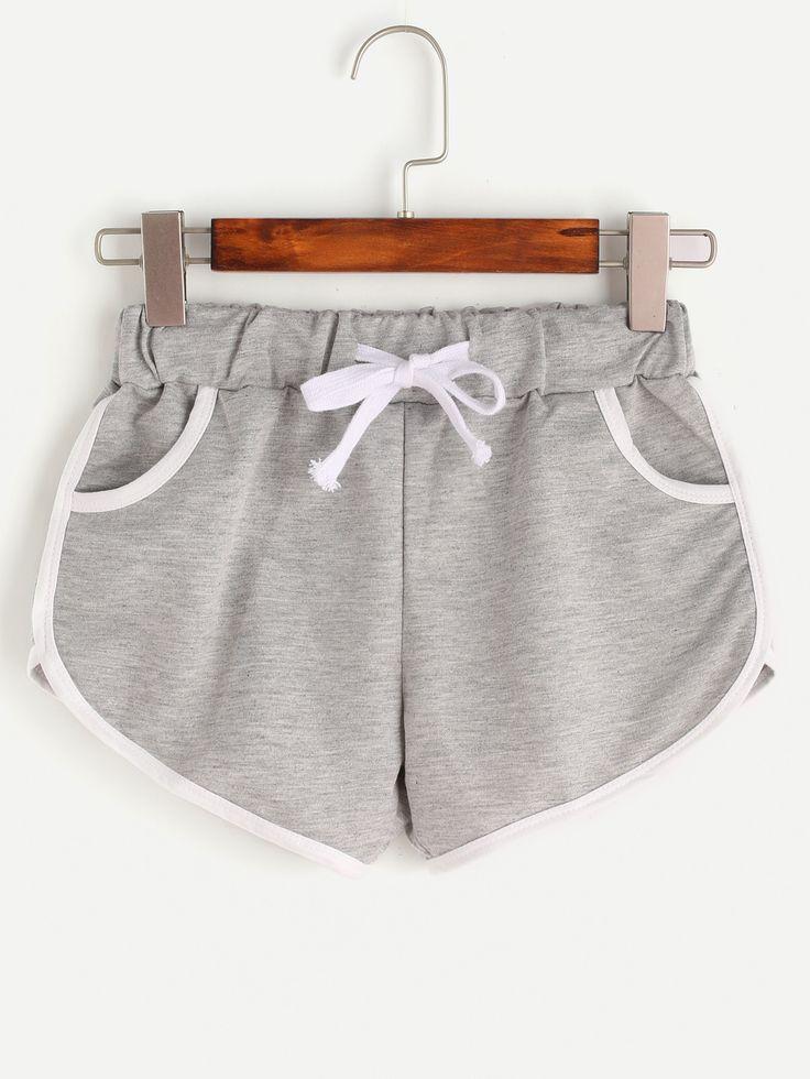 Shorts ribete en contraste con cordón-(Sheinside)