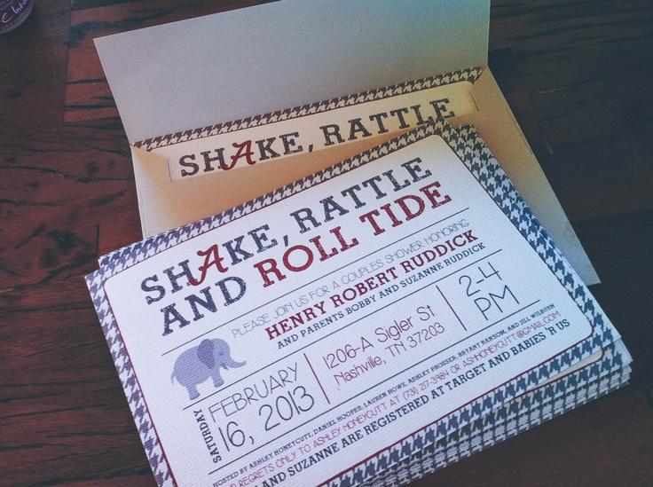 Shake Rattle And Roll Tide Alabama Themed Baby Shower Invitation Crimson Grey