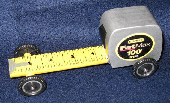 tape measure pinewood derby car.