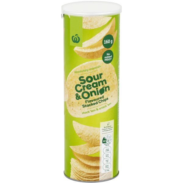 Woolworths Sour Cream Onion Stacked Chips 160g Sour Cream And Onion Sour Cream Chips