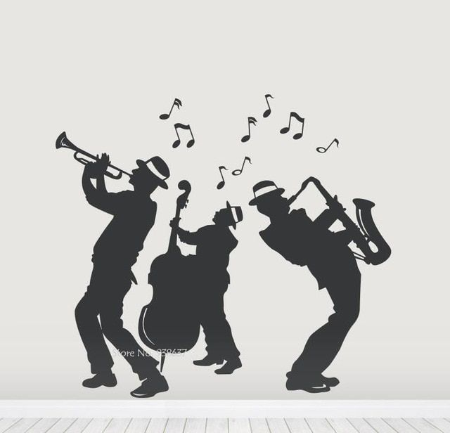 Jazz Band Silhouette Wall Decals Waterproof Dance Decor Removable 640x616 Jpeg Musical Band New Orleans Art Dance Decorations