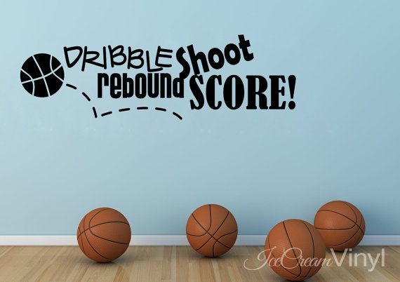 Basketball Sports Wall Decal Dribble Shoot by IceCreamVinyl, $20.00
