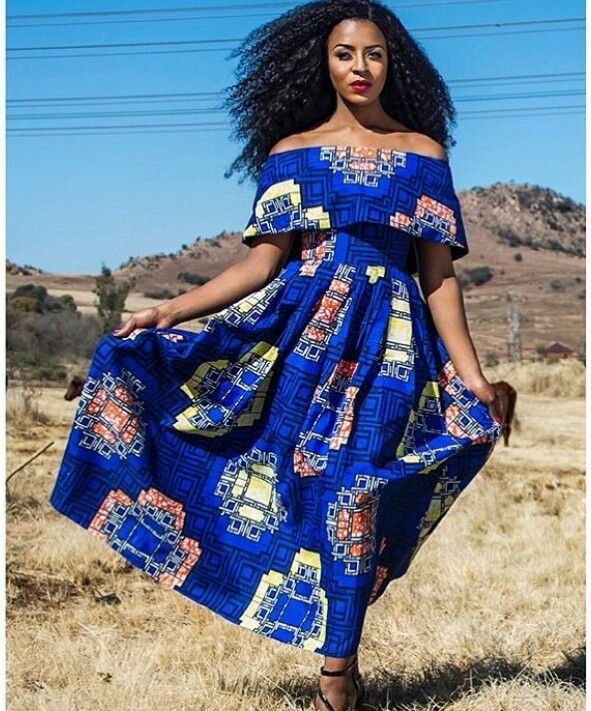 Designed by: Khosi Nkosi  Off the shoulder dress #africanfashion