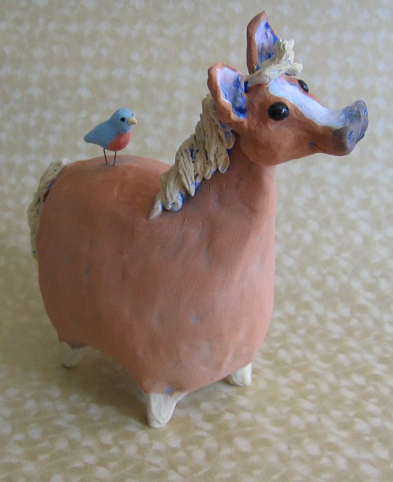 Chestnut brown fat horse ceramic sculpture fat by KarenFincannon, $88.00