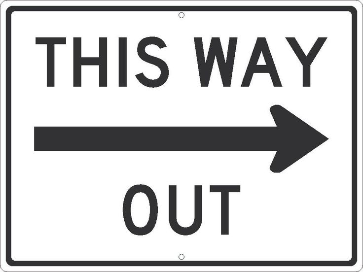 "This Way Out Right Arrow, National Marker TM521J, 18""x24"", Black And White, 85 Percent Recycled .080"" Engineering Grade Reflective Aluminum Traffic Directional Sign With 2 Holes For Post Mounting - Each"