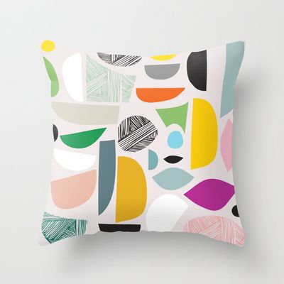 Friendly shapes Throw Pillow