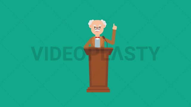 An older professor with gray hair wearing a brown suit is standing on a podium giving a speech at the microphone and gesturing with his hand Two versions are included: normal (with a start animation) and loopable. The normal version can be extended with the loopable version Clip Length:10 seconds Loopable: Yes Alpha Channel: Yes Resolution:FullHD Format: Quicktime MOV