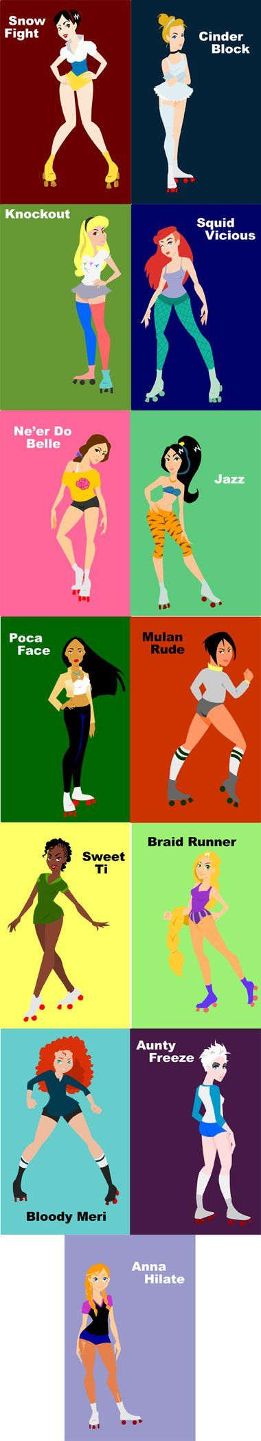 Disney princesses as roller derby players - by Amanda Robinson