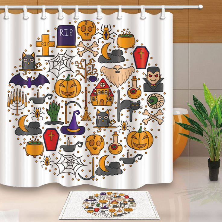 Halloween Background Shower Curtain Trick Or Treat Print For Bathroom 70 Inches