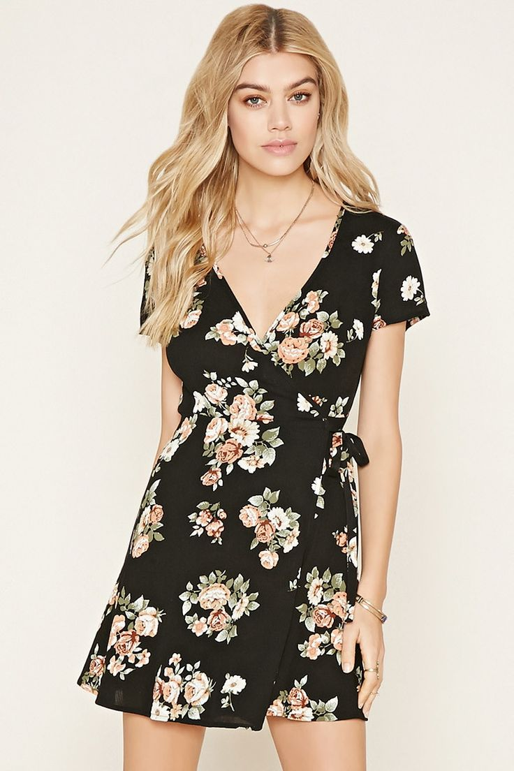 Floral Print Wrap Dress   Forever 21 - 2000177274