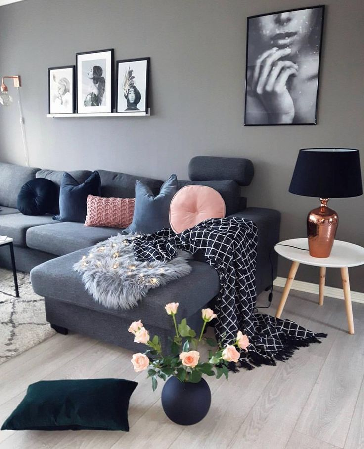 Grey Sofa With Dusty Pink Cushion And Throw Pillow Making It A