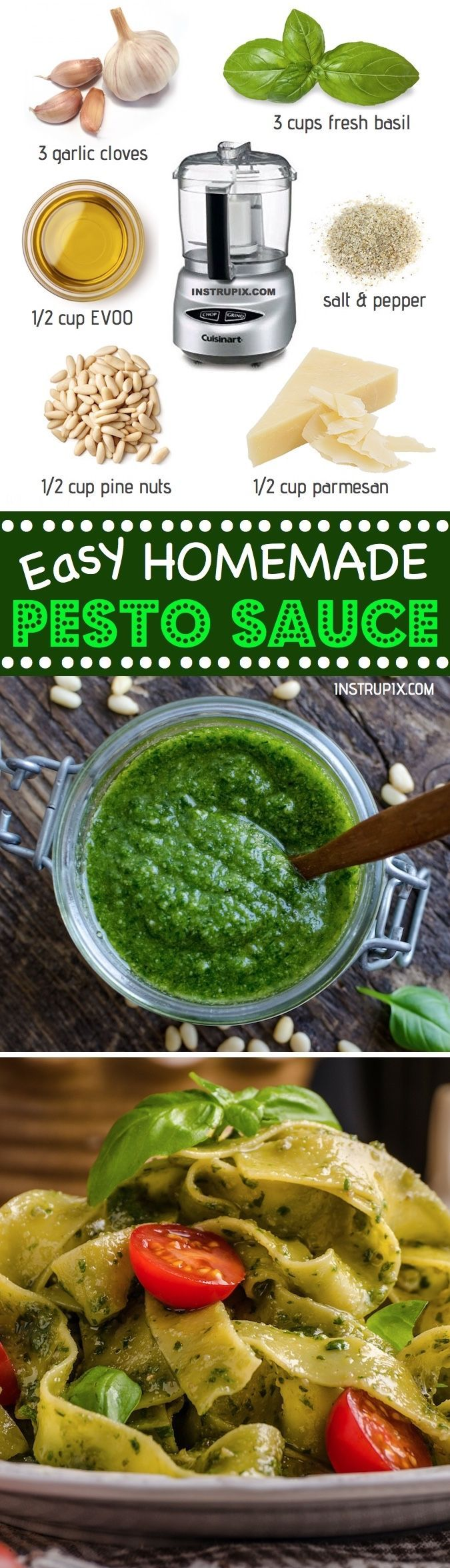 Easy Homemade Basil Pesto Sauce Recipe | For dinner, pasta, chicken, dips, spreads and more! Healthy and made with just a few simple ingredients. Make it vegan by leaving out the parmesan. Instrupix.com