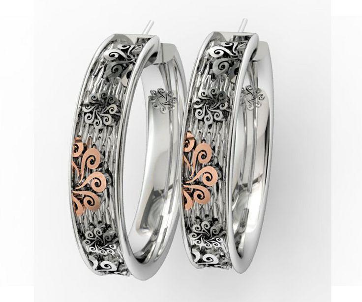 925 Sterling Silver Earrings Pink 18k. Gold #bohemme #jewelry #gold #bohemian