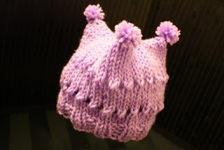 Knitting Pattern For Baby Jester Hat : The Createry Shop: Baby Three Point Jester Hat With Purple Pom Poms - Free Kn...