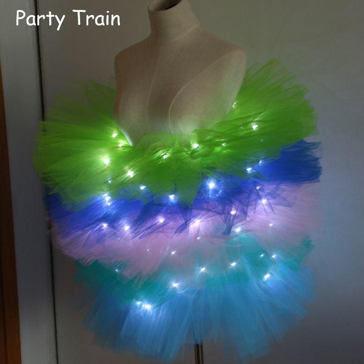Mode dans LED tutu mini rok Up Neon Fancy Rainbow Mini Tutu Fancy Kostuum Volwassen licht Rok TFS Corset Tutu rok